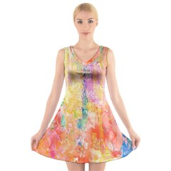 Watercolour Watercolor Paint Ink V Neck Sleeveless Skater Dress