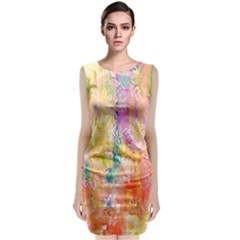 Watercolour Watercolor Paint Ink Classic Sleeveless Midi Dress