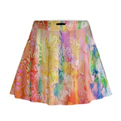 Watercolour Watercolor Paint Ink Mini Flare Skirt