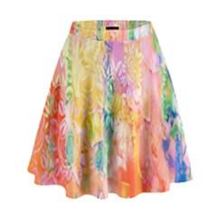 Watercolour Watercolor Paint Ink High Waist Skirt