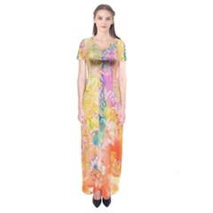 Watercolour Watercolor Paint Ink Short Sleeve Maxi Dress