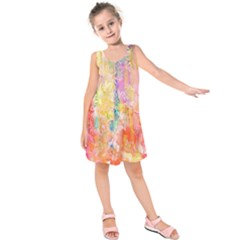 Watercolour Watercolor Paint Ink Kids  Sleeveless Dress