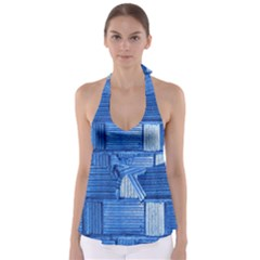 Wall Tile Design Texture Pattern Babydoll Tankini Top
