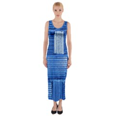 Wall Tile Design Texture Pattern Fitted Maxi Dress