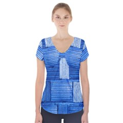 Wall Tile Design Texture Pattern Short Sleeve Front Detail Top