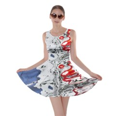 Water Reflection Abstract Blue Skater Dress