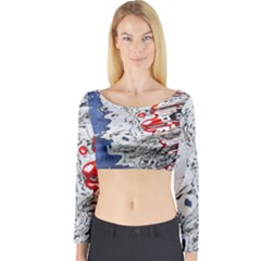 Water Reflection Abstract Blue Long Sleeve Crop Top