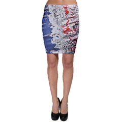 Water Reflection Abstract Blue Bodycon Skirt