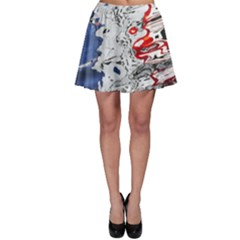 Water Reflection Abstract Blue Skater Skirt
