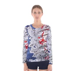Water Reflection Abstract Blue Women s Long Sleeve Tee