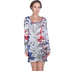 Water Reflection Abstract Blue Long Sleeve Nightdress