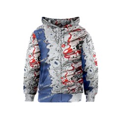 Water Reflection Abstract Blue Kids  Zipper Hoodie