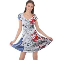 Water Reflection Abstract Blue Cap Sleeve Dresses