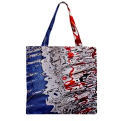 Water Reflection Abstract Blue Zipper Grocery Tote Bag