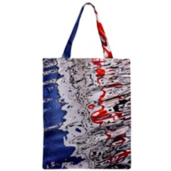 Water Reflection Abstract Blue Zipper Classic Tote Bag