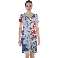 Water Reflection Abstract Blue Short Sleeve Nightdress