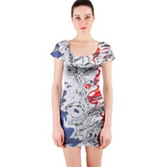 Water Reflection Abstract Blue Short Sleeve Bodycon Dress
