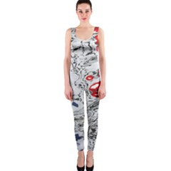 Water Reflection Abstract Blue OnePiece Catsuit