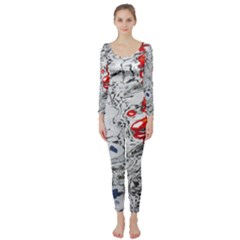 Water Reflection Abstract Blue Long Sleeve Catsuit
