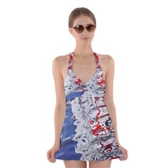 Water Reflection Abstract Blue Halter Swimsuit Dress