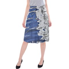 Water Reflection Abstract Blue Midi Beach Skirt