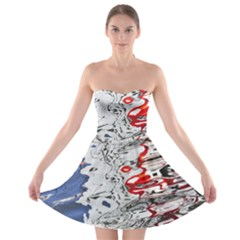 Water Reflection Abstract Blue Strapless Bra Top Dress