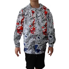 Water Reflection Abstract Blue Hooded Wind Breaker (Kids)