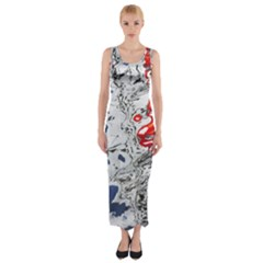 Water Reflection Abstract Blue Fitted Maxi Dress