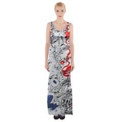 Water Reflection Abstract Blue Maxi Thigh Split Dress