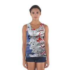 Water Reflection Abstract Blue Women s Sport Tank Top