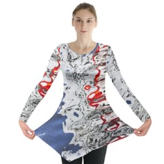 Water Reflection Abstract Blue Long Sleeve Tunic