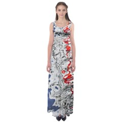 Water Reflection Abstract Blue Empire Waist Maxi Dress