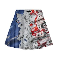 Water Reflection Abstract Blue Mini Flare Skirt