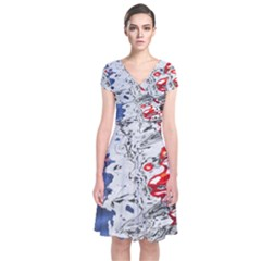 Water Reflection Abstract Blue Short Sleeve Front Wrap Dress