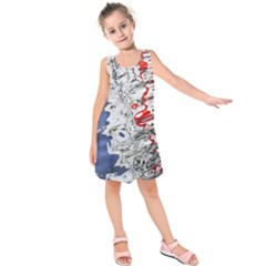 Water Reflection Abstract Blue Kids  Sleeveless Dress