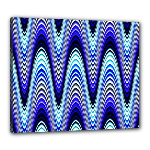 Waves Wavy Blue Pale Cobalt Navy Canvas 24  x 20