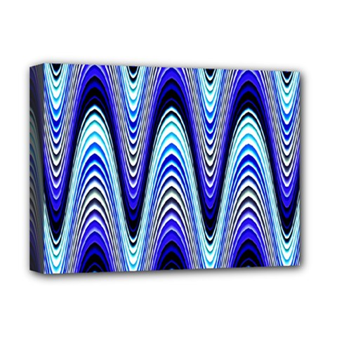 Waves Wavy Blue Pale Cobalt Navy Deluxe Canvas 16  x 12