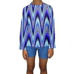 Waves Wavy Blue Pale Cobalt Navy Kids  Long Sleeve Swimwear