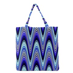 Waves Wavy Blue Pale Cobalt Navy Grocery Tote Bag