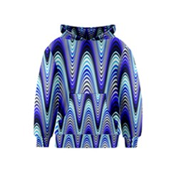 Waves Wavy Blue Pale Cobalt Navy Kids  Pullover Hoodie
