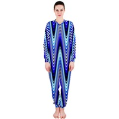 Waves Wavy Blue Pale Cobalt Navy Onepiece Jumpsuit (ladies)