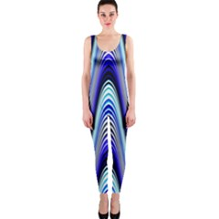 Waves Wavy Blue Pale Cobalt Navy OnePiece Catsuit