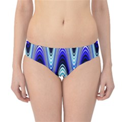 Waves Wavy Blue Pale Cobalt Navy Hipster Bikini Bottoms