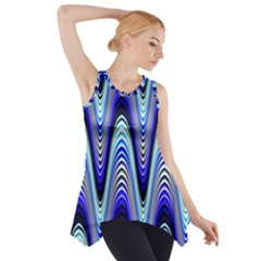 Waves Wavy Blue Pale Cobalt Navy Side Drop Tank Tunic