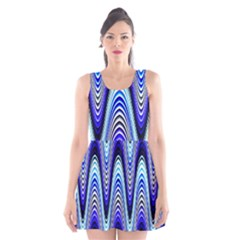 Waves Wavy Blue Pale Cobalt Navy Scoop Neck Skater Dress