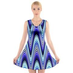 Waves Wavy Blue Pale Cobalt Navy V-Neck Sleeveless Skater Dress