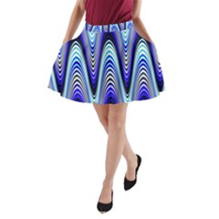 Waves Wavy Blue Pale Cobalt Navy A-Line Pocket Skirt
