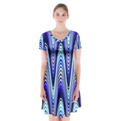 Waves Wavy Blue Pale Cobalt Navy Short Sleeve V-neck Flare Dress