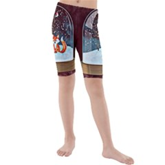 Winter Snow Ball Snow Cold Fun Kids  Mid Length Swim Shorts