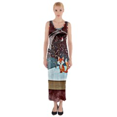 Winter Snow Ball Snow Cold Fun Fitted Maxi Dress